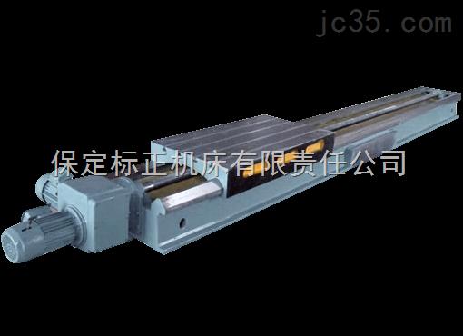 产品详细介绍 1HJb系列数控机械滑台是用来实现进给运动的动力部件。1HJ系列采用滚珠丝杠传动,1HJb系列采用铜螺母丝杠传动。这两个系列滑台均采用双矩形导轨,有铸铁导轨或镶钢导轨,电气挡铁安装位置有左型或右型等形式。本滑台精密级采用塑料导轨板,进给稳定,从而保证了加工状态下(负荷下)的实际精度,本滑台很易实现无级变速及数控化。 1HJb系列数控机械滑台主要技术参数: